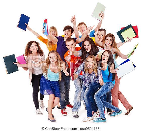 grupp, student, notebook. - csp9524183
