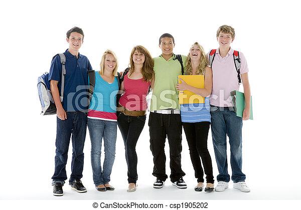grupp, tonårig, lurar, skott, skola - csp1905202