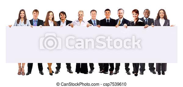 gruppe, anzeige, geschäftsmenschen, freigestellt, besitz, weißes, banner - csp7539610