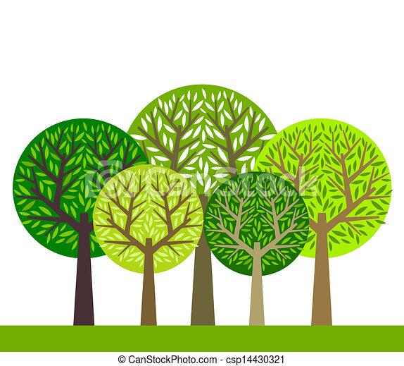 gruppe, bäume - csp14430321