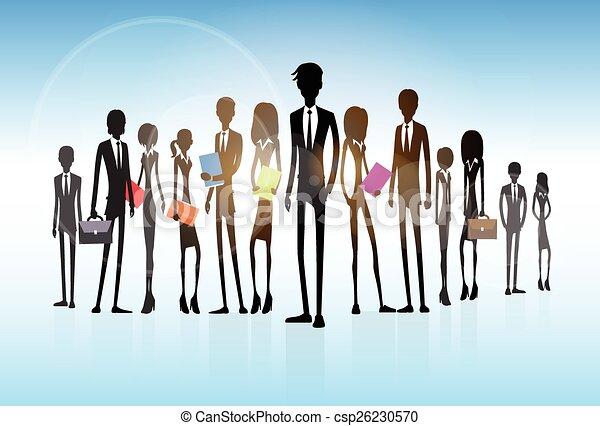 gruppe, geschäftsmenschen, mannschaft, silhouette, geschäftsführung  - csp26230570