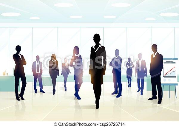 gruppe, geschäftsmenschen, mannschaft, silhouette, geschäftsführung  - csp26726714