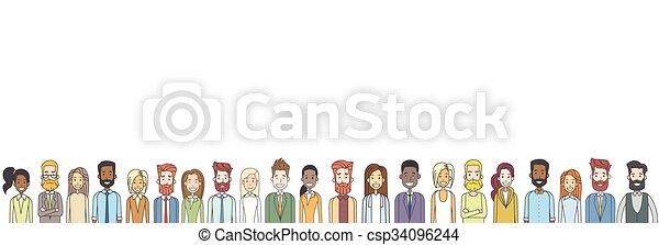 Gruppen von Casual People großen Menge unterschiedliche ethnische horizontale Banner - csp34096244