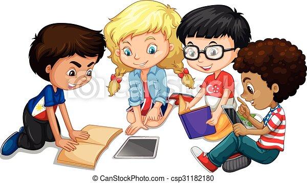 gruppo, bambini, compito - csp31182180