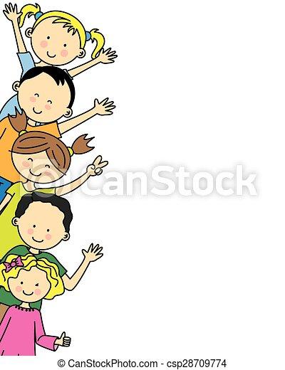 gruppo, bambini, felice - csp28709774