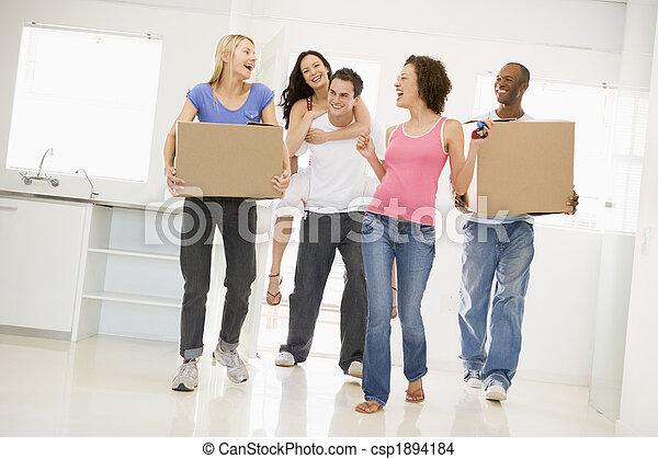 gruppo, casa trasloco, nuovo, sorridente, amici - csp1894184