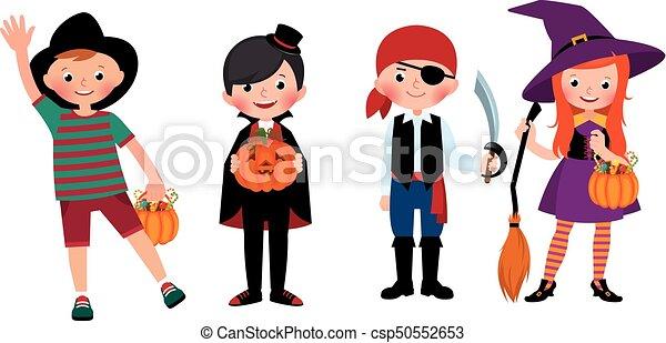 Halloween Gruppo.Gruppo Costumes Halloween Illustrazione Bambini Vettore Cartone Animato