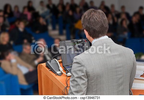 gruppo, persone affari, riunione, presentazione, seminario - csp13946731