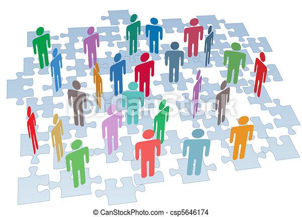 gruppo, rete, confondere pezzi, collegamento, risorse umane - csp5646174