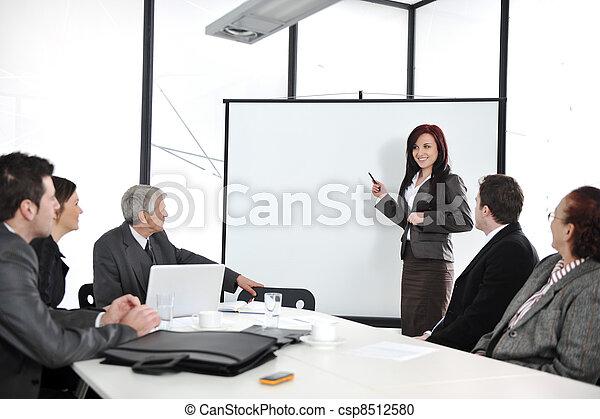 gruppo, ufficio, persone affari, riunione, -, presentazione - csp8512580