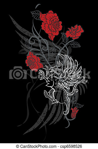 gryphon and roses - csp6598526
