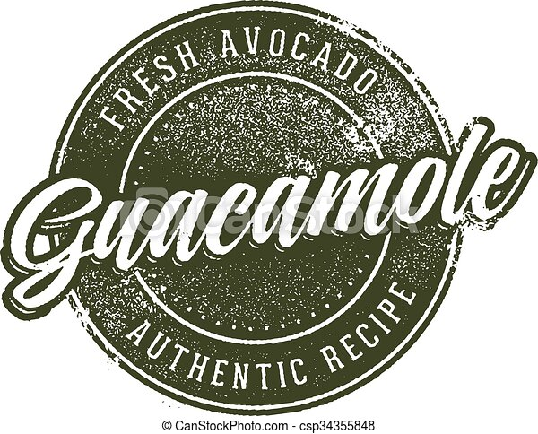 Guacamole Menu Stamp Design - csp34355848