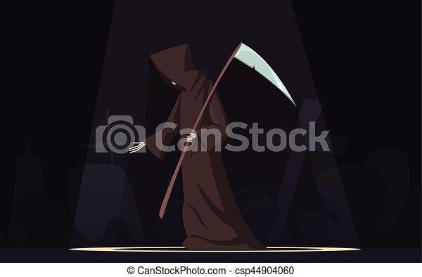 Muerte con guadaña imagen de dibujos animados - csp44904060