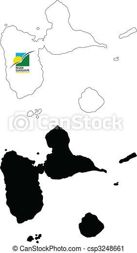 Carte, arrière plan., drapeau, vecteur, blanc, guadeloupe clipart