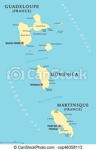 Guadeloupe, Dominica and Martinique political map - csp46358113