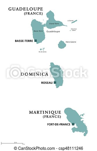 Guadeloupe Dominica Martinique Political Map With Capitals - Dominica political map