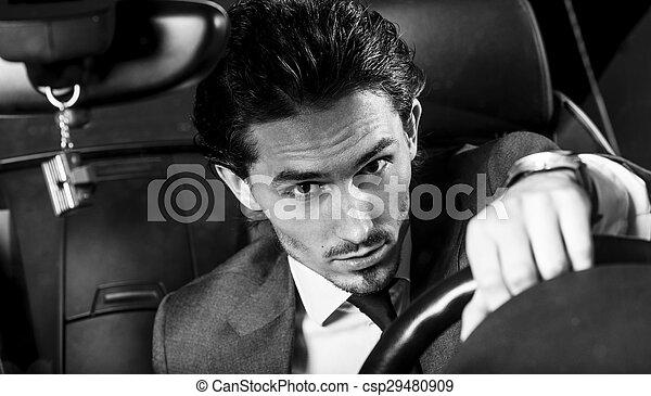 Un hombre apuesto con barba en un auto de traje - csp29480909