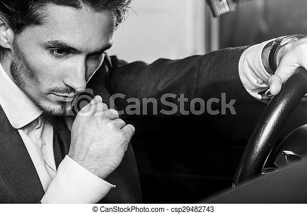 Un hombre apuesto con barba en un auto de traje - csp29482743