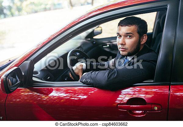 guapo, conducción, hombre, summer., joven, coche - csp84603662