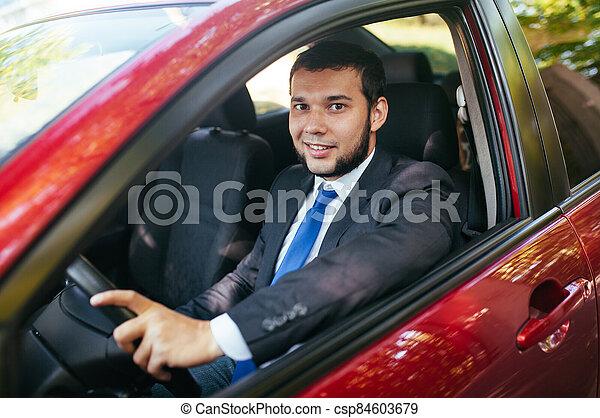 guapo, conducción, hombre, summer., joven, coche - csp84603679