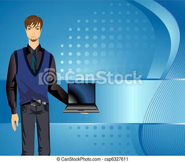 Un joven apuesto con una laptop. - csp6327611