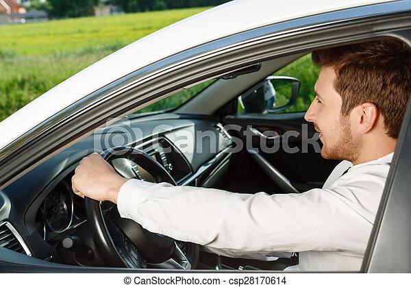 Retrato de un hombre guapo en coche - csp28170614