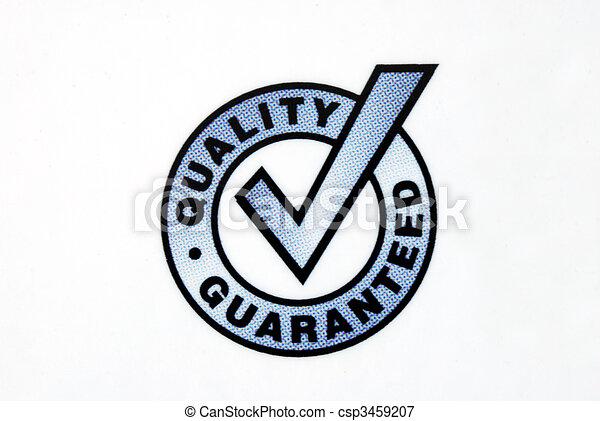 Una señal garantizada de calidad aislada en el fondo blanco - csp3459207