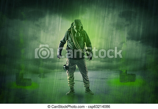 Guard in an abandoned space after explosion - csp63214086