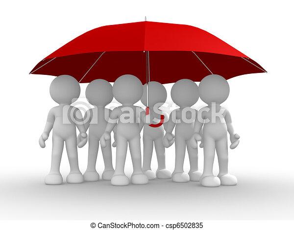 guarda-chuva, sob, grupo, pessoas - csp6502835
