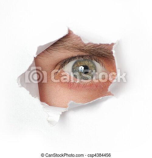guardando attraverso, buco, carta, occhio - csp4384456