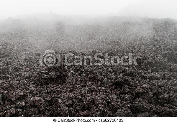 La niebla cubre un campo de lava del volcán Pacaya, Guatema - csp62720403