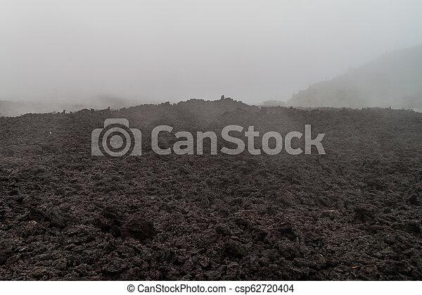 La niebla cubre un campo de lava del volcán Pacaya, Guatema - csp62720404