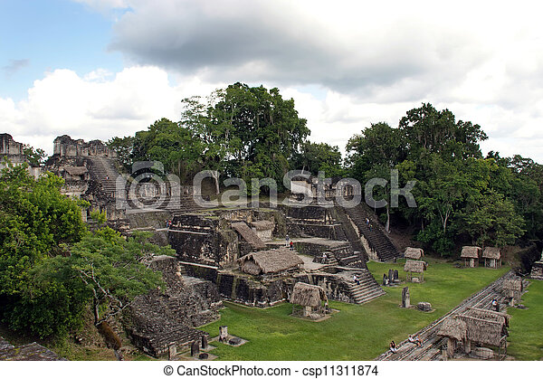 guatemala, 古代台なし, mayan, tikal - csp11311874