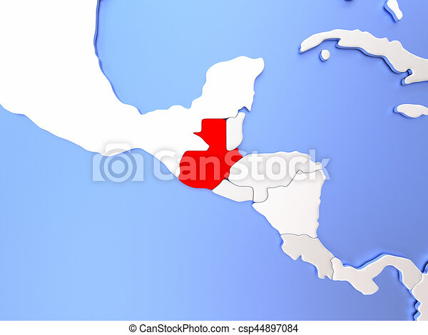 Guatemala in red on map. Map of guatemala highlighted in red on ...