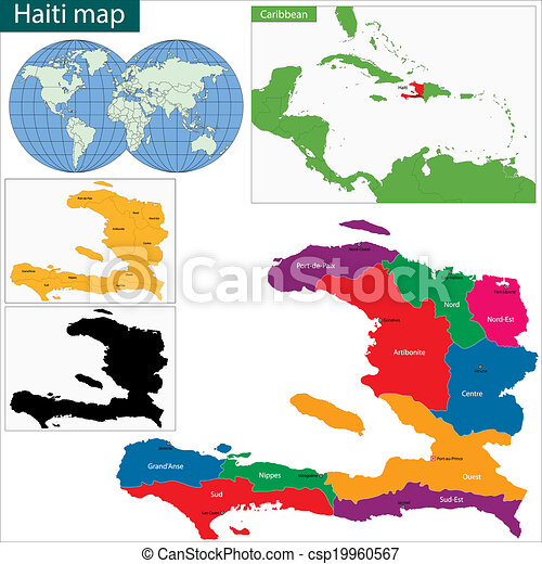 Guatemala map. Map of the republic of haiti with the departments and ...