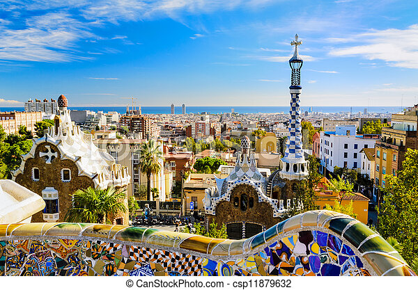 guell, barcelona, park, spanje - csp11879632
