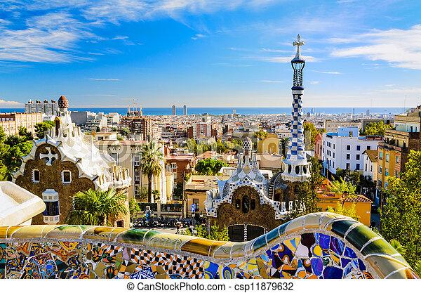 guell, barcelone, parc, espagne - csp11879632
