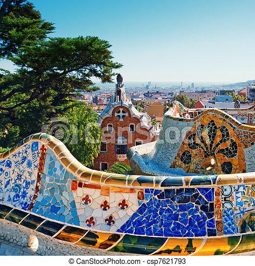 guell, barcelone, -, parc, espagne - csp7621793