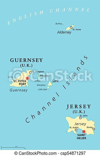 Guernsey and jersey channel islands political map eps vectors