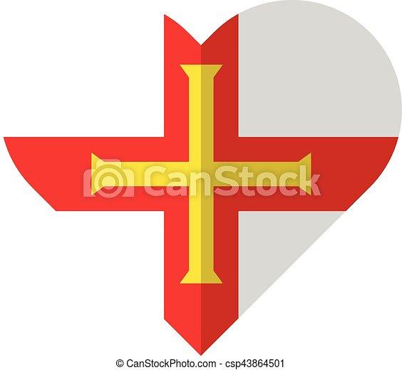 Guernsey flat heart flag - csp43864501
