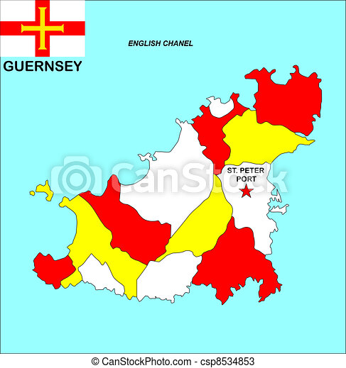 Guernsey map Big size political map of guernsey with flag drawings