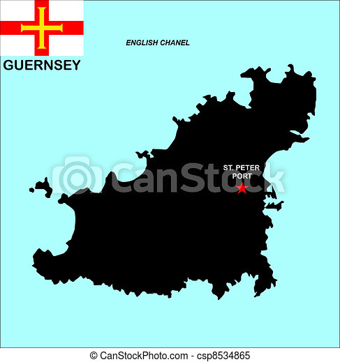Guernsey map Big size political map of guernsey with flag stock