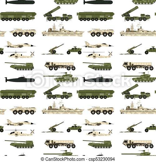 guerra, blindado, exército, armadura, pessoal, indústria, sistema, camuflagem, seamless, vetorial, padrão experiência, tanques militares, technic, transporte, illustration. - csp53230094