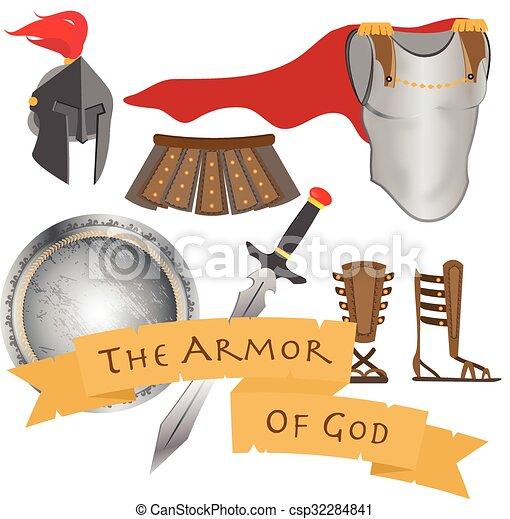guerreira, christ, santissimo, armadura, deus, ilustração, jesus, vetorial, sinal, espírito - csp32284841