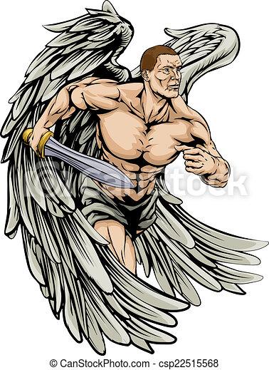 La mascota del ángel guerrero - csp22515568