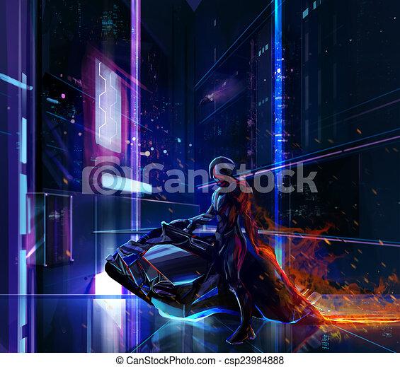 Guerrero de neón Sci-fi en bicicleta - csp23984888