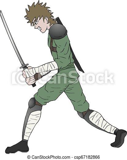 Guerrero enojado con espada - csp67182866