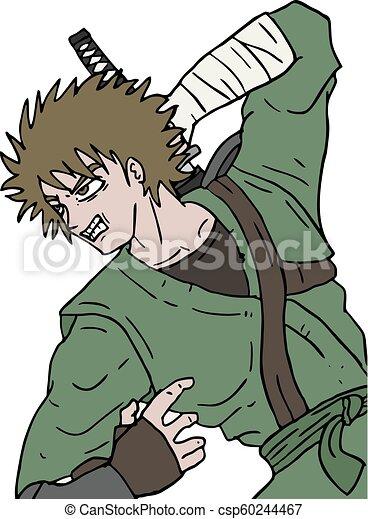 Ilustración guerrera enojada - csp60244467