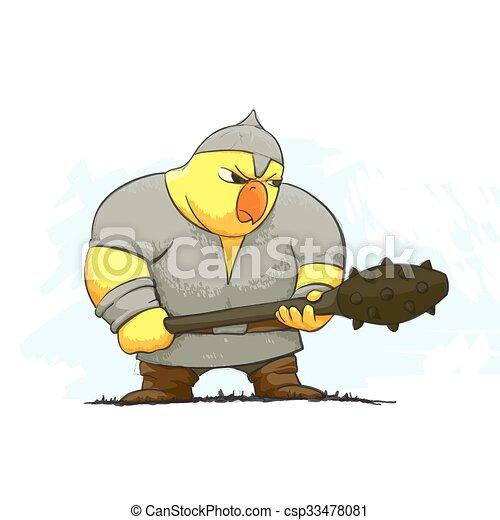 Un guerrero de pollo enojado - csp33478081