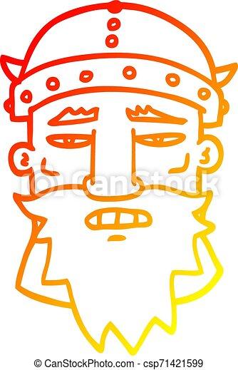 Una línea de gradiente caliente dibujando dibujos animados guerrero enojado - csp71421599